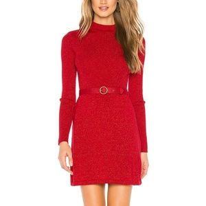 Free People Large Red Shimmer Mini Dress 3Y48
